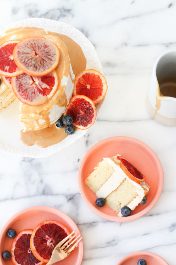 Salted caramel sauce on top of blood orange cake