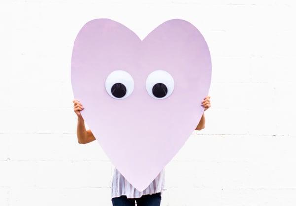 Giant Googly Eye Diy Heart Telegram For Valentines Day
