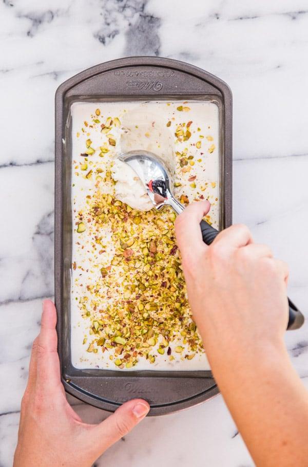 Pistachio pear ice cream recipe for World Pistachio Day