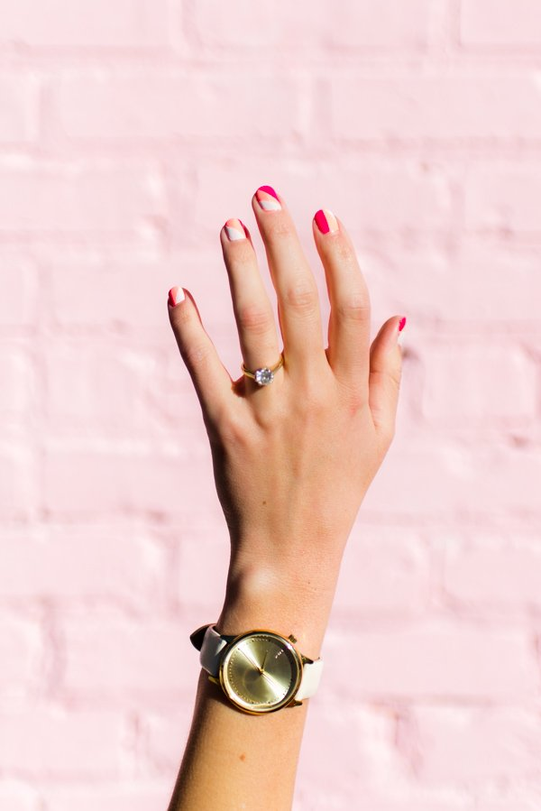 Color Blocked DIY Nail Art for Valentine's Day