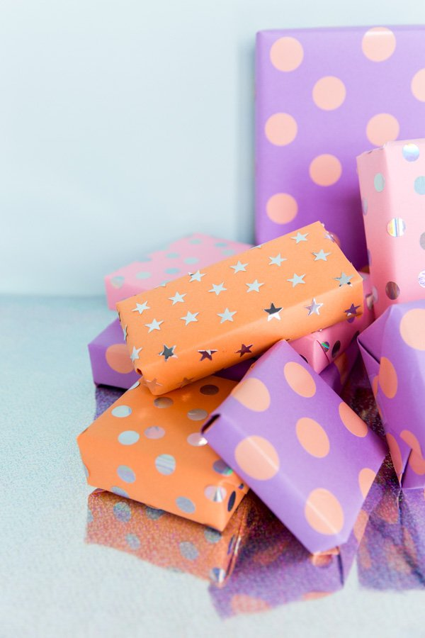 Try this DIY gift wrap idea with a pack of stickers and just 5 minutes.