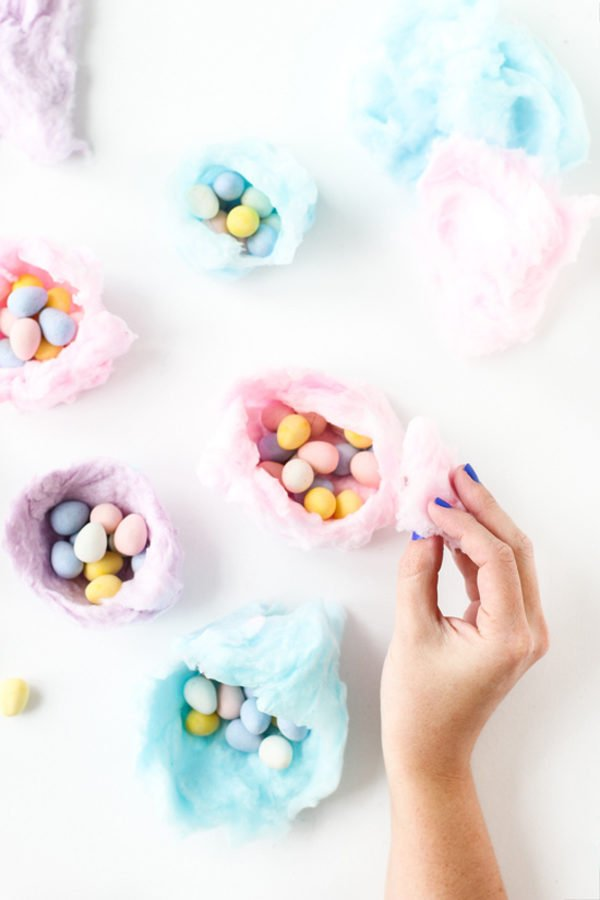 DIY Edible Cotton Candy Nests for Easter