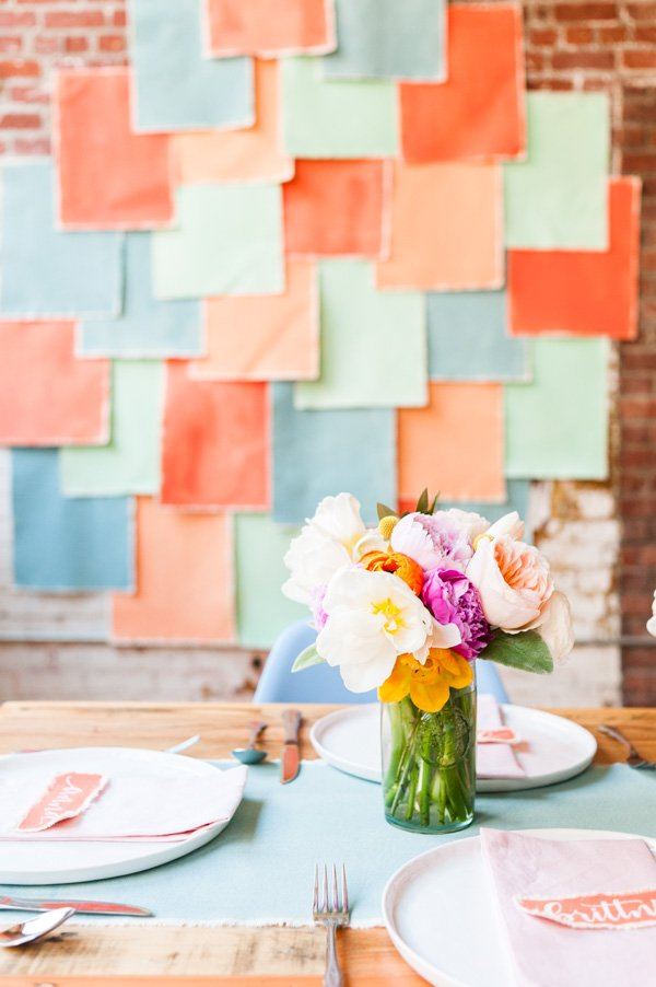 A colorful spring brunch with DIY details