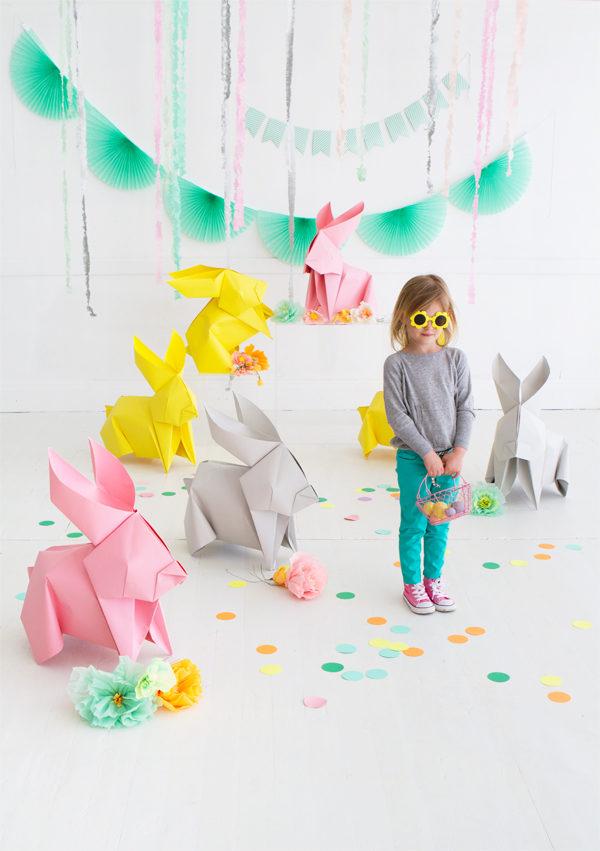 Giant DIY Origami Easter Bunnies