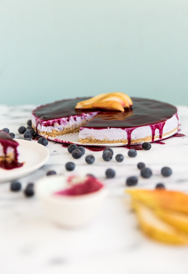 Recipe for Homemade Cheesecake with Riesling Blueberry Pear Glaze