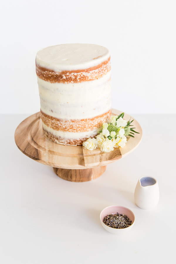 5 Layer Crumb Coated Cake with Lavender Glaze