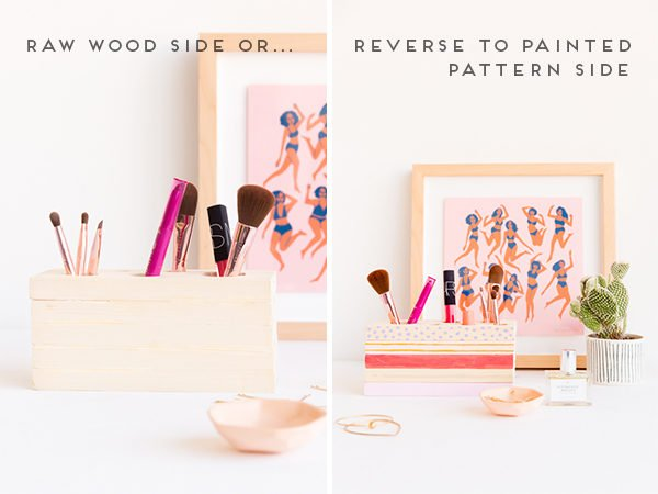 DIY (Reversible) Wood Makeup Organizer