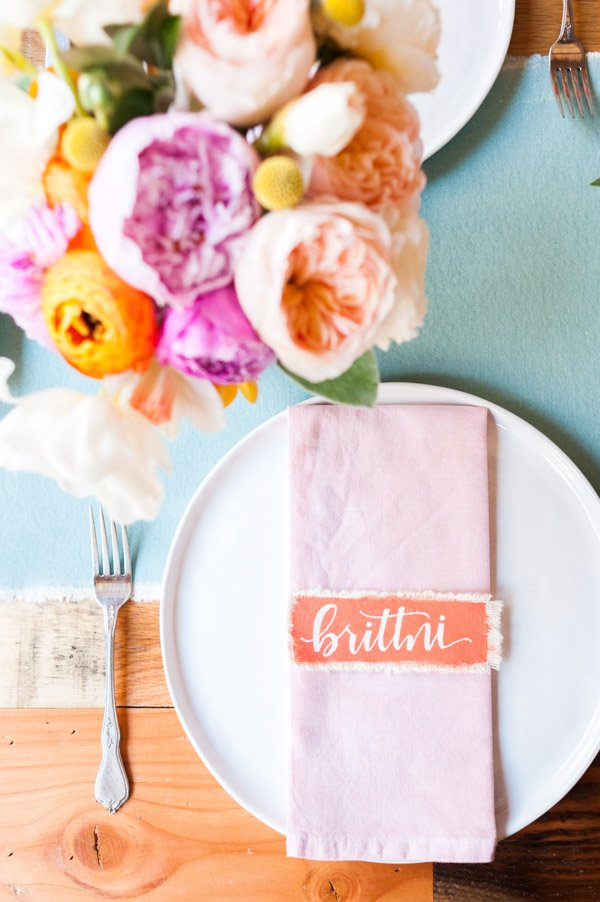 Hand lettered canvas place cards