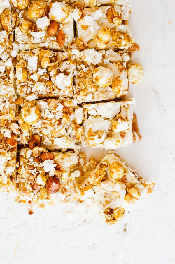 Try this delicious cracker jack fudge recipe with gooey caramel.