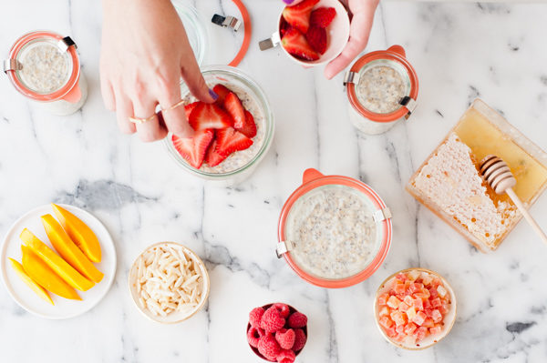 Overnight oats recipe with fresh fruit and nuts