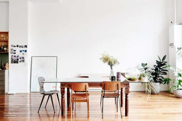 An eclectic, spacious dining room