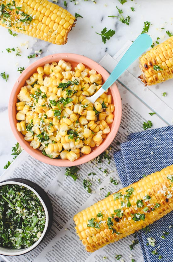 grilled lemon and herb corn on the cob