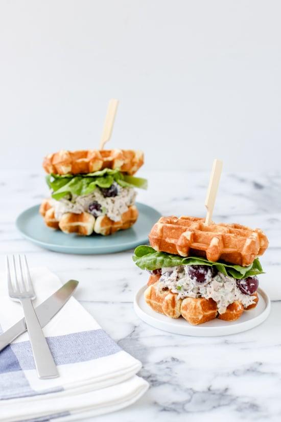 chicken salad waffle sandwiches