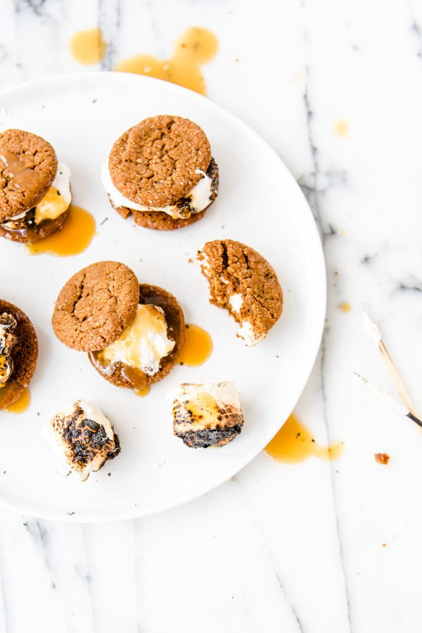 Butterscotch and toasted marshmallow gingersnap sammies