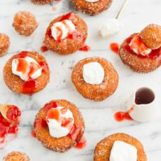 French Toast Donuts with Mascarpone Cheese and Fresh Strawberry Drizzle
