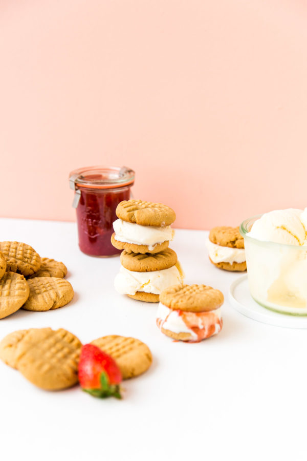 Homemade peanut butter and jelly ice cream sandwiches