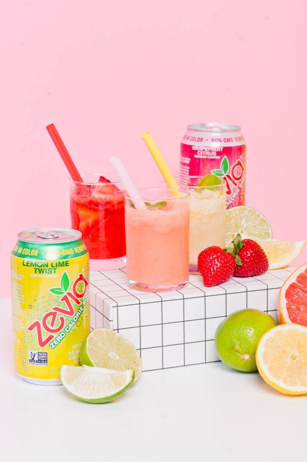 Summer sorbet soda floats with Zevia.