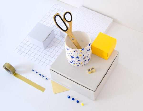 DIY terrazzo clay pencil holder