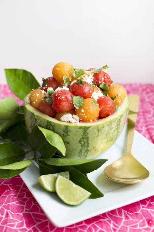 watermelon cilantro and cotija salad