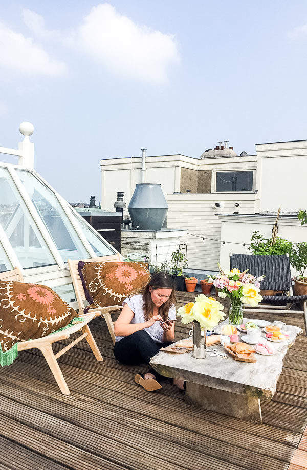 A rooftop snack in Amsterdam
