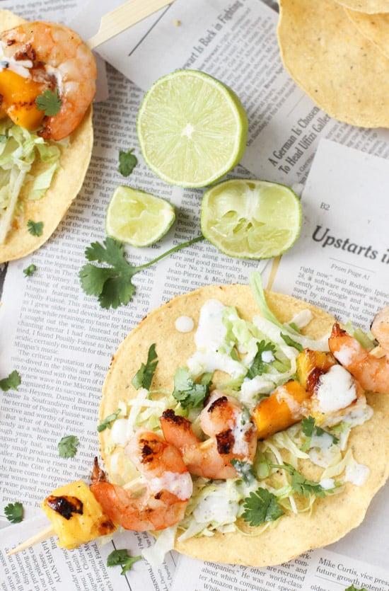 grilled tropical shrimp kabob tacos