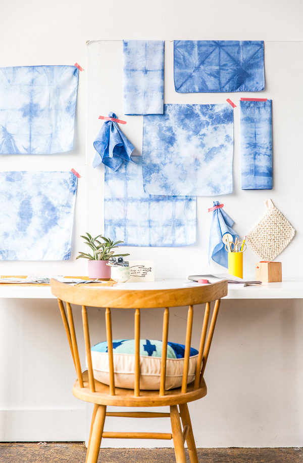 Shibori dyed textiles as wall art