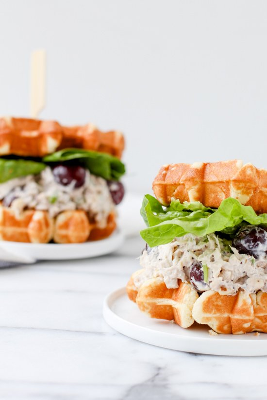 chicken (salad) and waffles sandwich