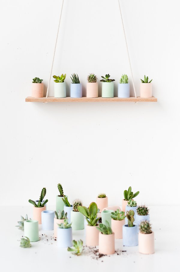 DIY mini planters in pastel colors