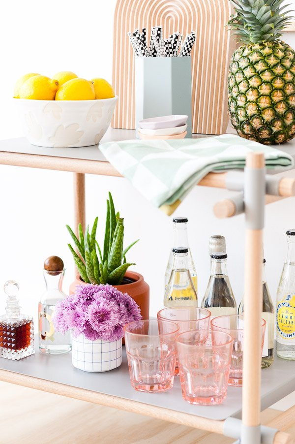 Summer Bar Cart Essentials + Tips for Styling your Own Bar Cart at Home