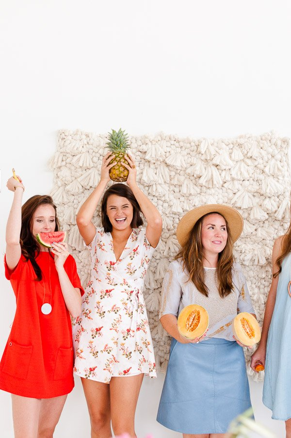Fresh Summer Party Ideas (including a DIY woven photo booth backdrop, fruit props, and more)