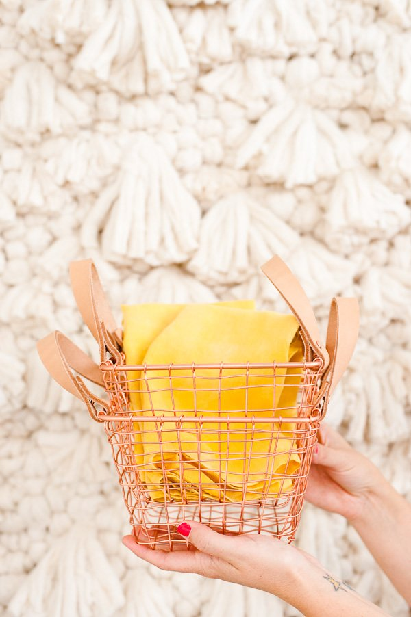 3 DIY Ideas to Take You From Party to Home Decor... 1) DIY leather handle baskets 2) Naturally dyed DIY linen napkins 3) DIY photo booth backdrop / giant wall weaving.