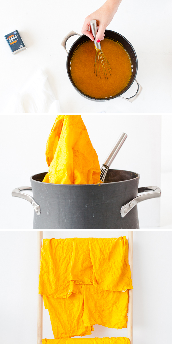 How to dye linen napkins (and other textiles) naturally with turmeric.