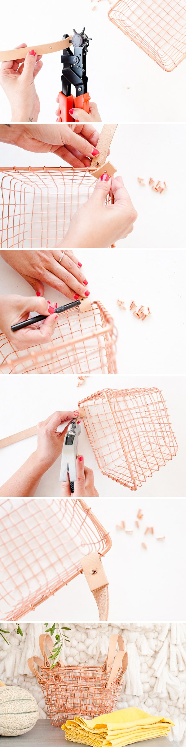 How to add leather handles to any wire basket. Click through for the step by step instructions.