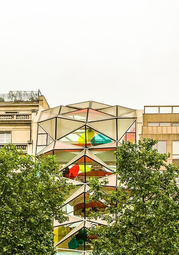 A geometric glass building in Paris