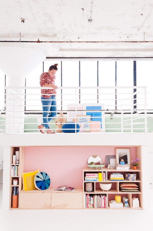 A Modern DIY Seating and Storage Makeover at Paper & Stitch Studios