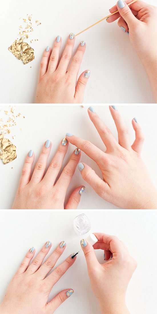 Gold foil nail art tutorial (for fall)