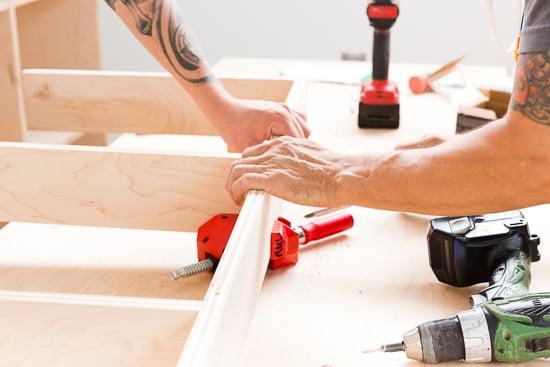 DIY Modern Plywood Shelving Organization