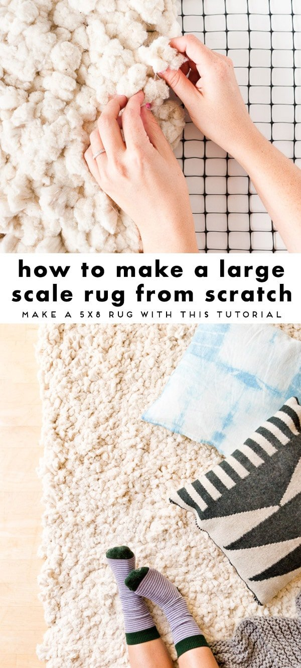 A tutorial for making a DIY rug from scratch with cotton piping and a couple of other materials.