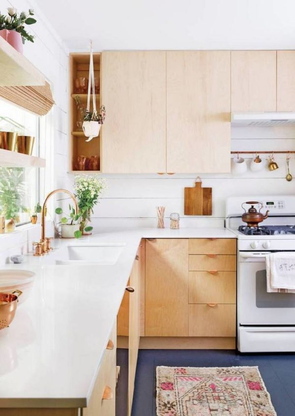 Plywood kitchen cabinets and copper handles