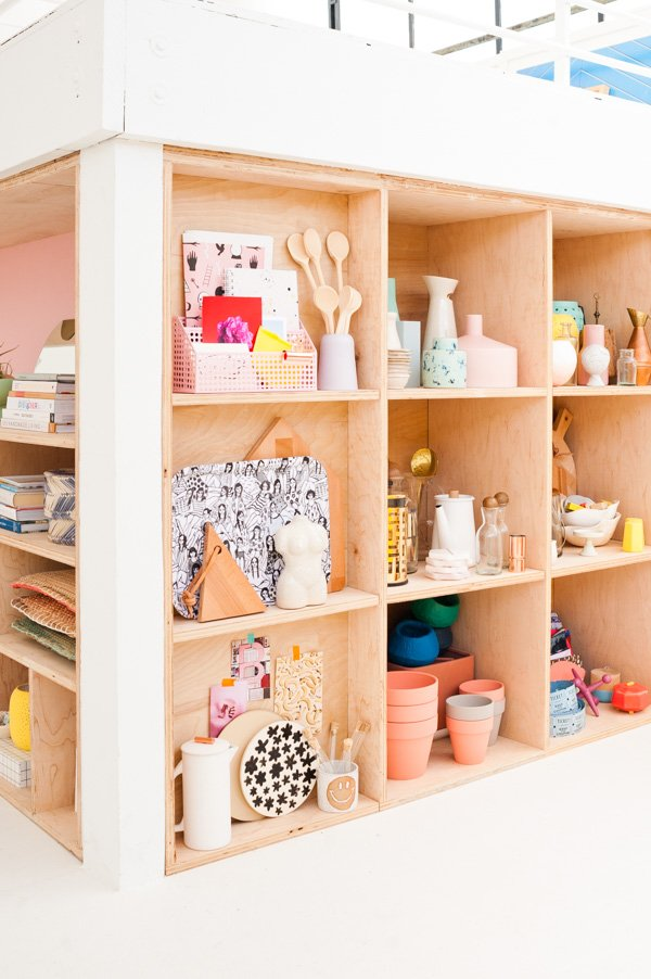 DIY Modern Plywood Shelving Organization