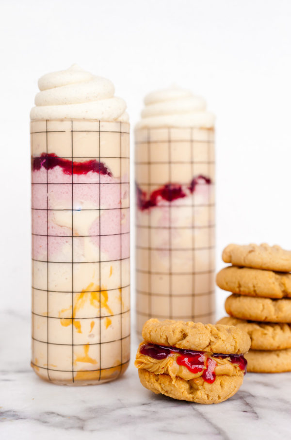 Peanut Butter and Jelly Milkshakes