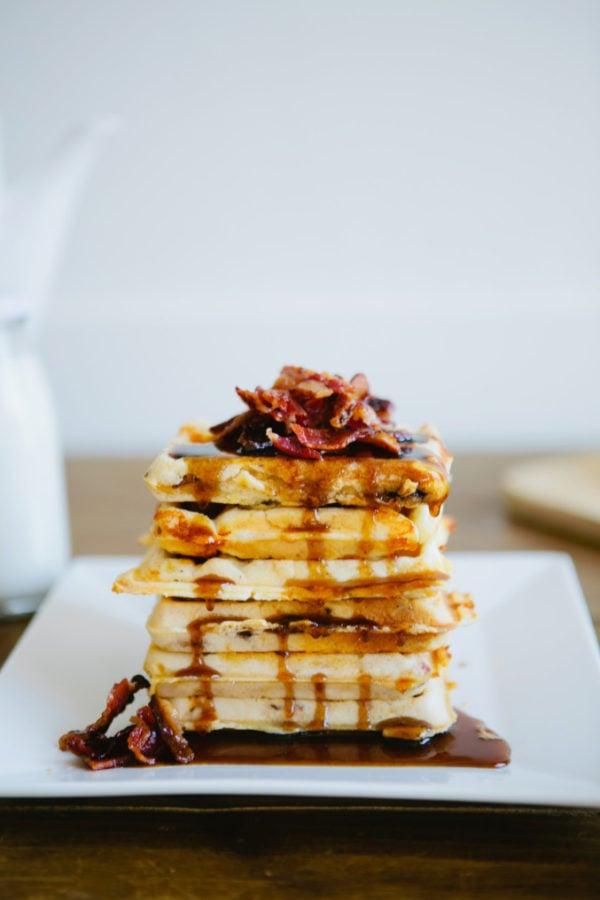 bacon cheddar waffles