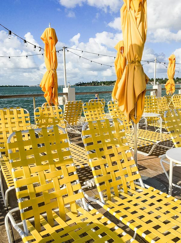 Vintage yellow pool chairs