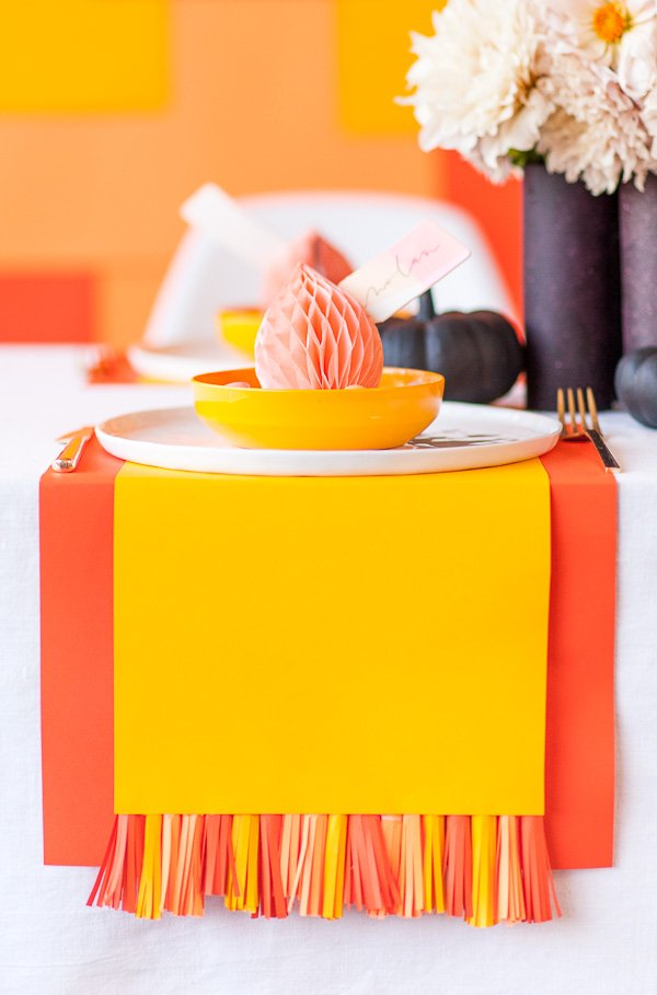 DIY Paper Tassel Placemats for Halloween and Thanksgiving