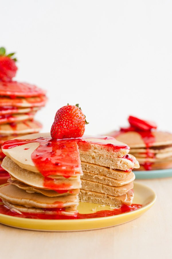 Recipe for homemade peanut butter pancakes and strawberry 'jelly' syrup