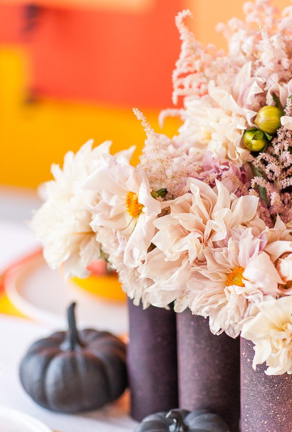 Dahlias with black vases and pumpkins