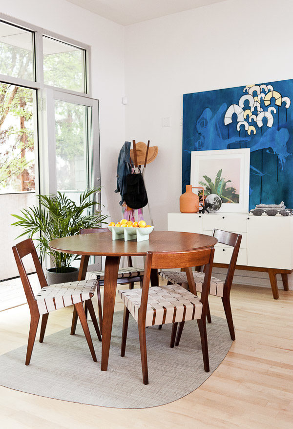 Churner dining table + Jens Risom chairs