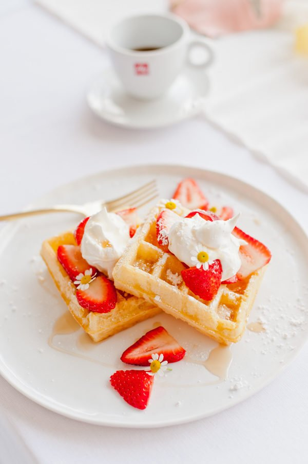 strawberry and chamomile waffles