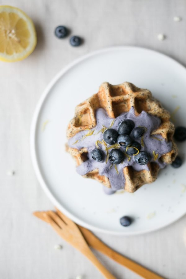 lemon poppy seed waffles with blueberry cashew cream