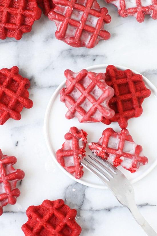 red velvet waffles with donut glaze